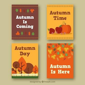 Coleção de cartões planos com elementos de outono