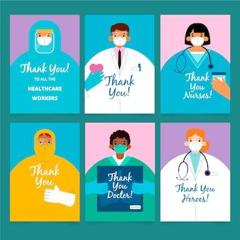 Coleção de cartões postais de agradecimento plana orgânica, médicos e enfermeiras