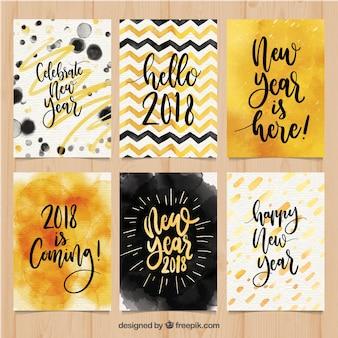 Coleção de cartões postais de ano novo em aquarela