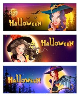 Coleção de cartões postais de saudação horizontal de halloween com noite de halloween, lua brilhante, estrelas noturnas e belas bruxas diferentes. banners de halloween com elementos de halloween. personagens de desenhos animados.
