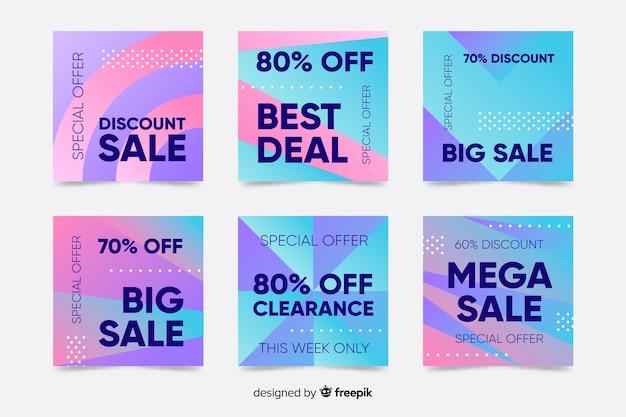 Coleção de cartões postais de venda gradiente instagram