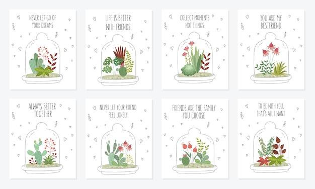 Coleção de cartões postais de vetor com lindas plantas caseiras sob um vidro jardinagem sob a cúpula v