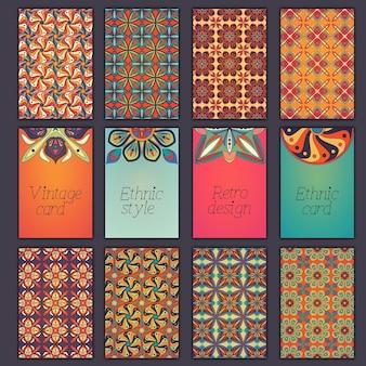 Coleção de cartões retro com origens étnicas.