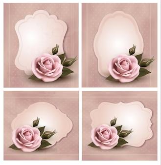 Coleção de cartões retrô com rosas cor de rosa.
