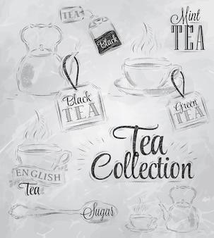 Coleção de carvão de chá