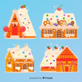 Coleção de casa de gengibre colorido