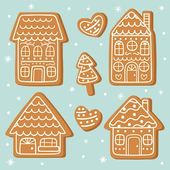 Coleção de casa de gengibre desenhada de mão