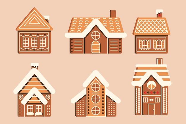 Coleção de casa de gengibre design plano
