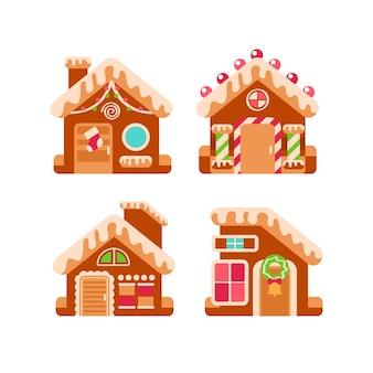 Coleção de casa de gengibre em design plano