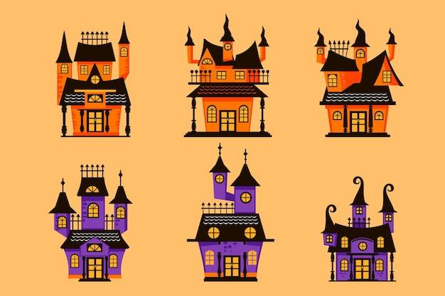 Coleção de casa de halloween desenhada à mão