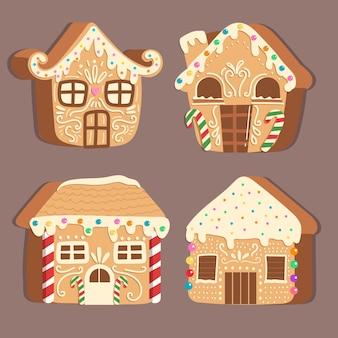Coleção de casa de pão de gengibre de design plano