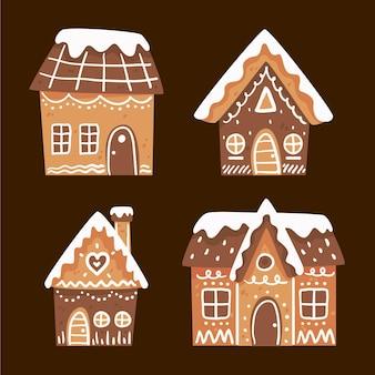 Coleção de casa de pão de mel desenhada à mão