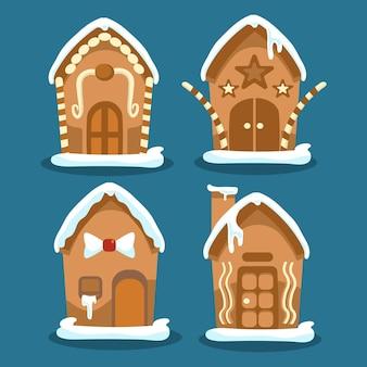 Coleção de casa de pão de mel em design plano
