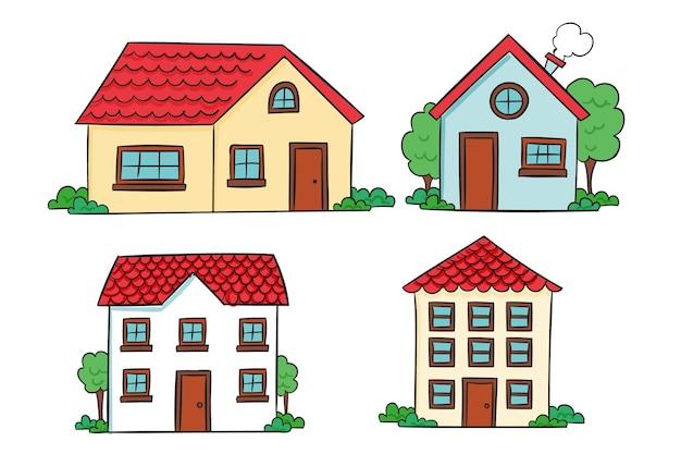 Coleção de casa desenhada à mão design