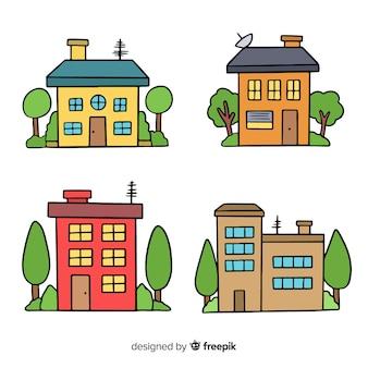 Coleção de casa desenhada de mão