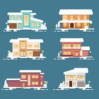 Coleção de casa estilo simples de natal