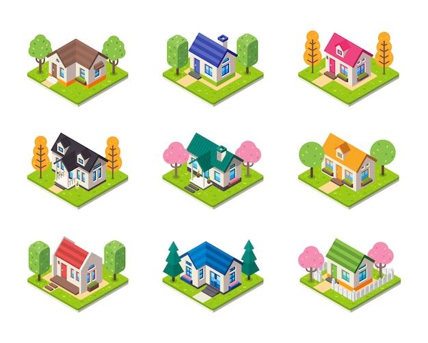 Coleção de casa isométrica em tipo diferente. conjunto de edifícios isométricos.