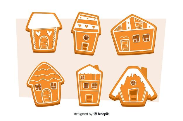 Coleção de casa plana de gengibre para o natal