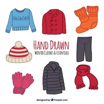 Coleção de casacos de inverno e elementos desenhados à mão