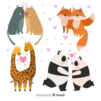 Coleção de casais animal bonito para dia dos namorados