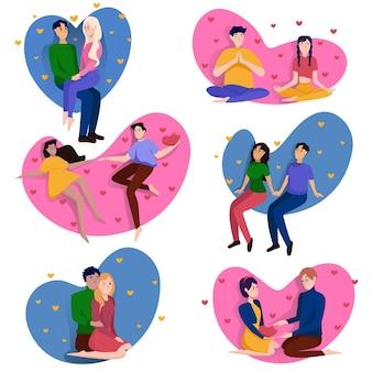 Coleção de casais apaixonados para o dia dos namorados