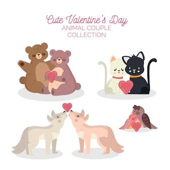 Coleção de casais de animais fofa para o dia dos namorados
