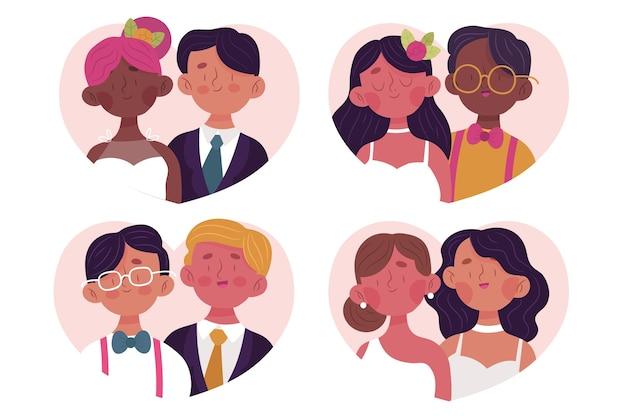 Coleção de casais de casamento