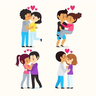 Coleção de casais desenhados a mão beijando