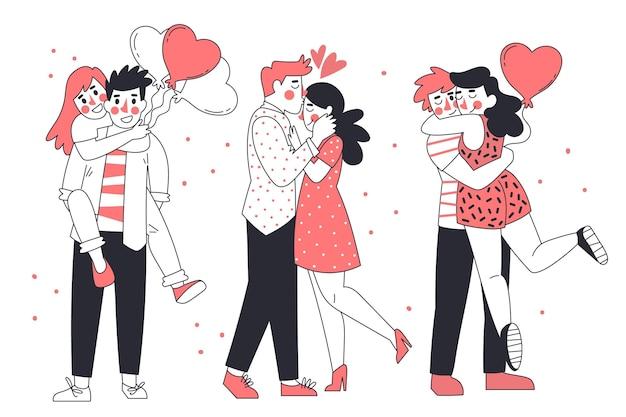 Coleção de casais desenhados à mão para o dia dos namorados
