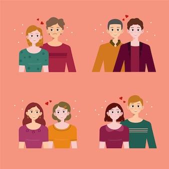 Coleção de casais românticos fofos