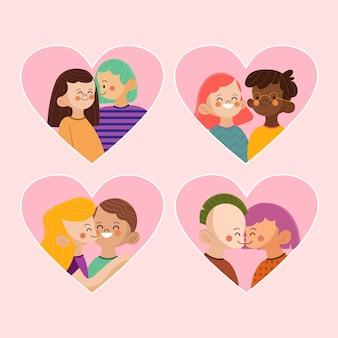 Coleção de casal adorável dia dos namorados