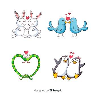 Coleção de casal animal dos desenhos animados dos namorados