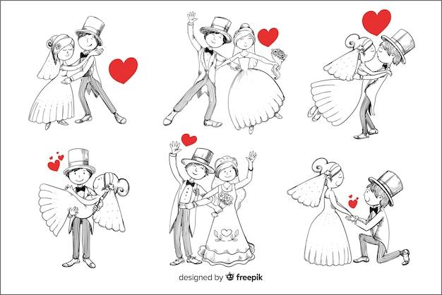 Coleção de casal casamento mão desenhada