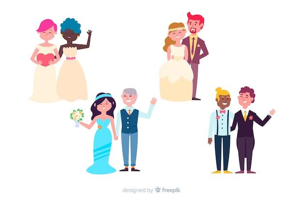 Coleção de casal casamento plana
