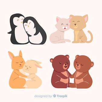 Coleção de casal de animais dia dos namorados