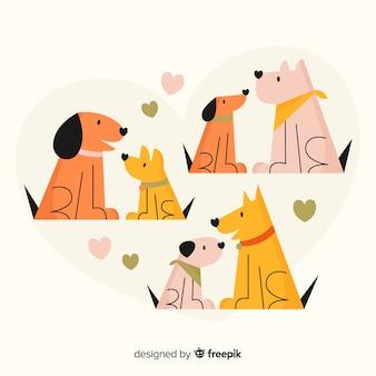 Coleção de casal de cão dia dos namorados