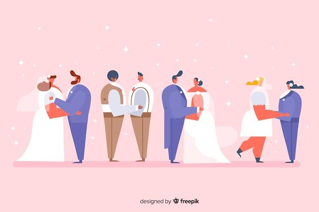 Coleção de casal de casamento design plano