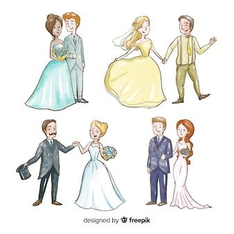 Coleção de casal de casamento watecolor