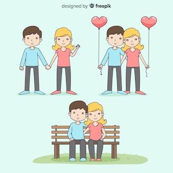 Coleção de casal de dia dos namorados dos desenhos animados
