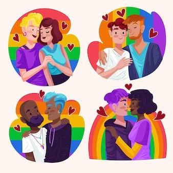 Coleção de casal do dia do orgulho desenhada à mão