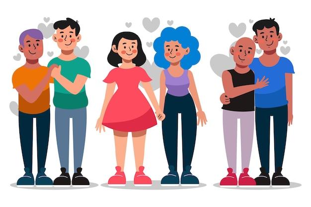 Coleção de casal do dia do orgulho dos desenhos animados