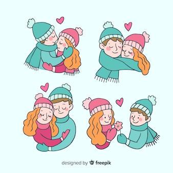 Coleção de casal dos desenhos animados dos namorados