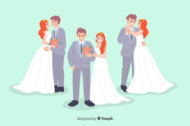 Coleção de casal fofo mão desenhada casamento