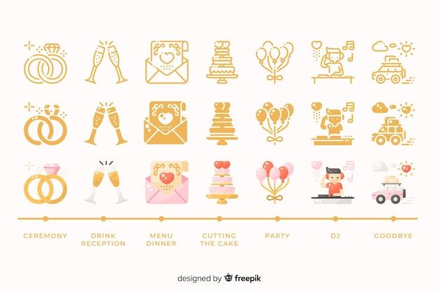 Coleção de casamento com ilustrações bonitinha