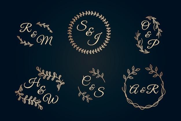 Coleção de casamento elegante monogramas