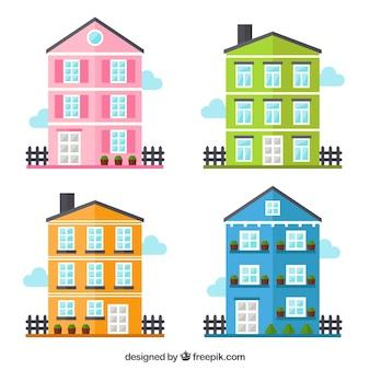 Coleção de casas coloridas