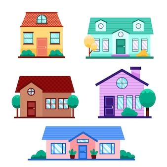 Coleção de casas com árvores