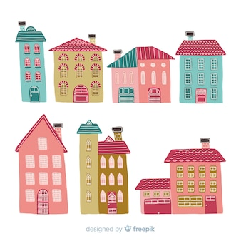 Coleção de casas de mão desenhada
