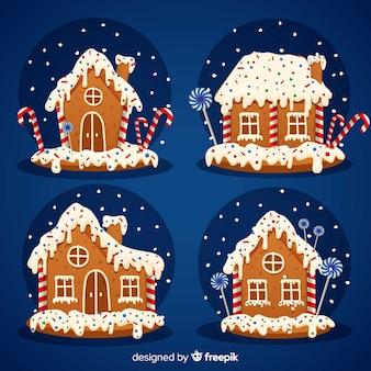Coleção de casas de Natal de gengibre