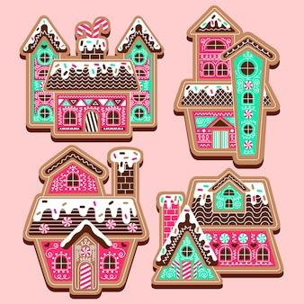 Coleção de casas de pão de gengibre de design plano